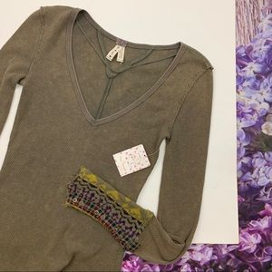 NEW Green Free People Art School Cuff Thermal Top